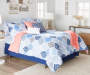 Navy and Coral Ogee 12 Piece King Reversible Comforter Set lifestyle