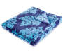 Navy and Light Blue Damask Plush Velvet Throw Folded with Corner Down Silo Image