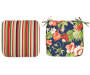 Navy and Red Tropical Paradise and Stripe Seat Pads 2 Pack silo top view