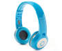 Neon Blue Deluxe Bluetooth Headphones Angled View Silo Image