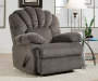 Newcastle Gray Recliner Footrest Down Angled View in Room Setting Lifestyle Image