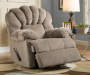 Newcastle Tan Recliner Footrest Up Angled View in Room Setting Lifestyle Image