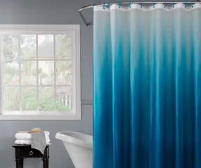 Just Home Ombre Blue Shower Curtain Hooks Set