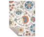 Orange Cream and Blue Floral Area Rug 5 Feet by 7 Feet Overhead View with Corner Folded Silo Image
