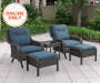 PEBBLE BEACH 5PC ALL WEATHER WICKER MOTION CHAT SET
