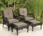 PINEHURST RESIN WICKER 6 PC SEATING SET - CTN #1 2 CHAIRS 2 OTTOMANS