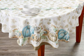 Painted Pumpkin Cottage Round Fabric Tablecloth 60