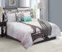 Paris Gray  Pink and Cream 12 Piece Full Comforter Set lifestyle