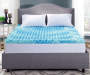 Perfect Sleeper 3 inch Gel Swirl Queen Memory Foam Topper Bedroom Full Pad Showing Lifestyle Image