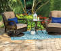 Pinehurst 3-Piece All Weather Wicker Patio Swivel Gliders & Table Set