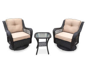 Wilson Fisher Pinehurst 3 Piece All Weather Wicker Patio Swivel Gliders Table Set Big Lots