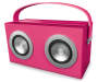 Pink Bluetooth Retro Box Speaker Angled View with Handle Up Silo Image