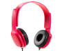 Pink Flat Cord Stereo Headphones Silo