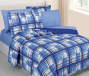 Planet Snooze Blue Plaid Full Bed In a Bag on Bed Room View