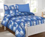 Planet Snooze Twin Blue Plaid Bed In A Bag on Bed Room View