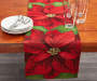 Poinsettia Christmas Tapestry Table Runner on Table with Plate and Cup Props Room View
