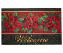 Poinsettia Rubber Christmas Doormat Overhead Shot Silo Image