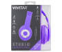 Purple Neon Studio Headphones in Package Silo Image