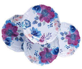 Purple Amp Blue Floral Melamine Dinner Plates 4 Pack Big Lots