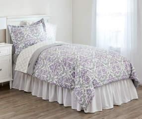 Just Home Purple Amp Gray Damask Twin 6 Piece Comforter Set