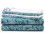 Queen Teal Paisley Sheet Set 6-Piece Stacked
