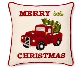 Quot Merry Little Christmas Quot Embroidered Truck Throw Pillow