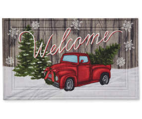 Red Truck Amp Tree Rubber Outdoor Doormat Big Lots