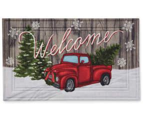 Red Truck Amp Tree Rubber Outdoor Doormat Big Lots