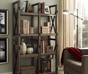 Ameriwood Rustic Gray Oak 8 Shelf Crisscross Bookcase