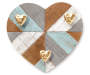 RUSTIC HEART HOOK PLAQUE GOLD/WHITE/BLUE