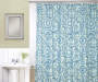 Radial Blue and Green Shower Curtain and Hooks Set on Shower Rod Lifestyle Image