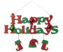 Red & Green Happy Holidays Glitter Hanging Decor Silo