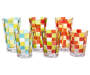 Red & Green Mosaic Plastic Highball Glass