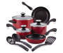 Red 11 Piece Cookware Set Silo Image