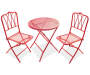 Red 3 Piece Retro Wrought Iron Bistro Set Side by Side Front View Silo Image