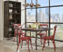 Red Antique Distressed Metal Dining Chair lifestyle