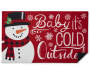 Red Baby It's Cold Outside Snowman Rubber Outdoor Doormat Silo Image Folded Corner