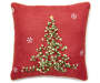 Red Bell Ribbon Tree Decorative Pillow 15 Inches by 15 Inches Front View with Green Ribbon Silo Image