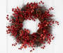 Red Berries and Pinecones Glitter Wreath 20 Inches Overhead on Door Silo Image