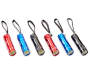 Red Black and Blue COB LED Mini Flashlights 6 Pack Side by Side Out of Package Silo Image