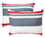 Red Black and Gray Stripe Full 8 Piece Reversible Comforter Set silo front