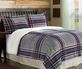 Arctic Trail Red Blue Amp Gray Plaid Queen King 3 Piece