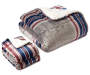 Red Blue and Gray Plaid 3-Piece Twin Full Sherpa Comforter Set Silo Image