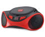 Red Bluetooth® CD Boombox Handle Down Angled View Silo
