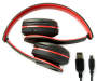 Red Bluetooth Stereo Headphones Folded Silo