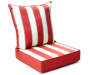 Red Cabana Stripe Deep Seat and Back Cushion Set Silo Striped Side