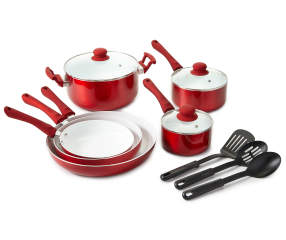 Great Gatherings Red Non Stick Ceramic 12 Piece Cookware