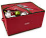 Red Christmas Ornament Storage Box silo top view with decor props