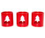 Red Christmas Tree Votive Candle holders 3 Piece Set Side by Side Front View silo Image