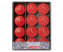Red Cinnamon Twist Votive and Tealight Candle Set 20 Pack in Package Overhead Shot Silo Image